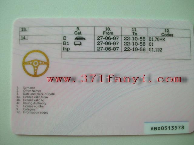郑州翻译公司为您展示英国驾照翻译样本